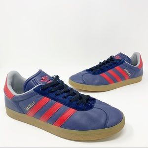 Adidas Gazelle Leather Sneakers Blue Red Gum Sole